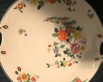 Syracuse China Old Ivory Spring Garden Floral  Serving Platter Handles Mid Century