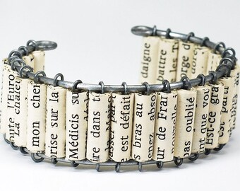 French Paper Bead Bracelet- Paper Bead Jewelry, Cuff Bracelet, French Jewelry, Book Jewelry, Paper Jewelry, Book Lover Gift