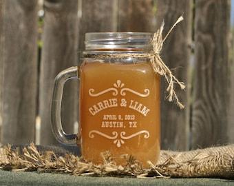 Etched Glass Mason Jar, Mason Jar Glasses, Personalized Wedding Favors, Drinking glasses, Mason Jar Mugs, Rustic Wedding Glasses