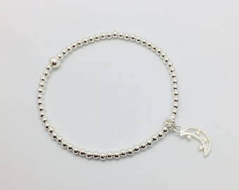 Sterling Silver Beaded Bracelet, Silver Bead Bracelet, Stacking Bracelet, Stretch Bracelet, Bracelet with Moon and Stars Charm, Moon Charm