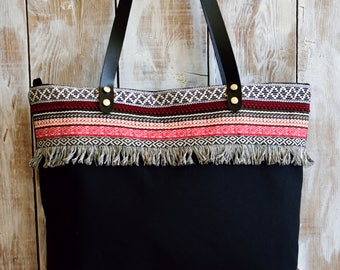 Bohemian Tote,Ethnic Tote,Black Canvas Tote,Canvas Zippered Tote,Zippered Canvas Tote,Leather Strap Tote,Fabric Tote,Fabric Bag,Everday Tote