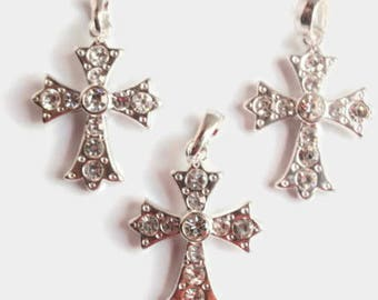 3 Silver Colored Cross Pendants, Jewelry Making Supply, Finding Supply,  Clear Rhinestones, with bail