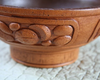 Carved vintage nut bowl