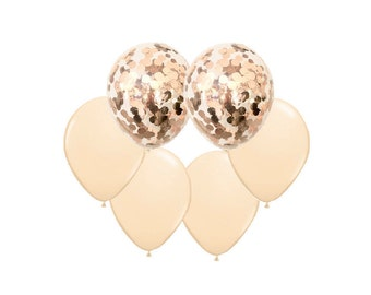 ROSE GOLD BLUSH Balloon Mix - Rose Gold Confetti + Blush Balloons - Set of 6 (12 inches / 30cm)