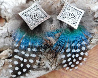 Ethnic tribal style with natural Peacock feather earrings