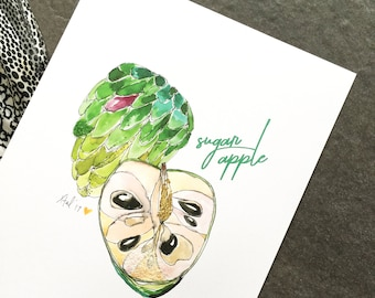 "Sugar Apple / Cherimoya - 8 x 10"" Art Print - Be Full of Fruit Collection"