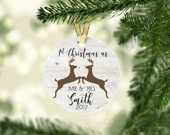 1st Christmas bauble, 1st Christmas as mr and mrs, deer ornament, Personalized ornament, Christmas ornament, just married, Christmas gift,