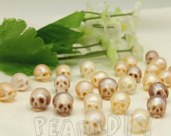 pearl diy freshwater natural  pearl  Handmake Carved skull sizes  earring,necklace pendant,and bracelet accessories