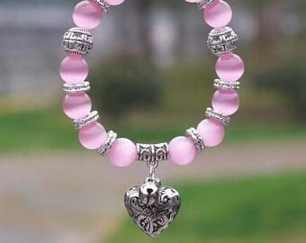 10mm Opal Obsidian Tiger Eye Natural Stone Bracelet with Heart Pendant Charms Strand Bracelet
