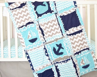 Nautical Baby Quilt - Turquoise / Gray / Navy Crib Bedding - Anchor Baby Blanket - Whale Baby Bedding - Flannel Baby Blanket Crib Rag Quilt