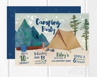 Camping Invitation | Camping Birthday | Camping Party | Camping Invite | Camping | Camp Invitation | Birthday Invitation | Camp Birthday