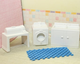 Marx plastic dollhouse furniture, Traditional 3 piece dollhouse laundry or utility room in half inch scale for your Tin Litho dollhouse