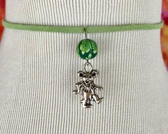 Grateful Dead Dancing Bear Silver Charm Green Choker Necklace