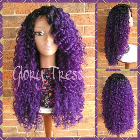On Sale Long Kinky Curly Lace Front Wig Ombre Purple Wig