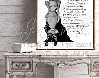 LARGE PRINT- Creative- Black/White Fashion Illustration & Original Quote Poster - Archival Print