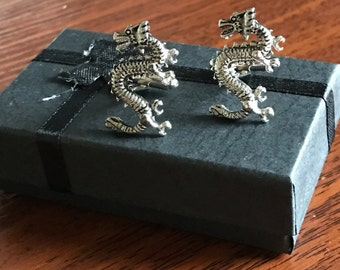 Silver Chinese Dragon Cufflinks, chinese dragon, dragon cuff links, dragon jewellery, dragon, silver dragon, mythical creatures