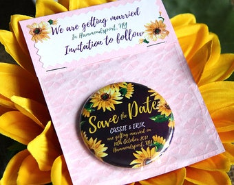 SUNFLOWER design Save the Date 58mm Magnet with Handmade Packaging x 40