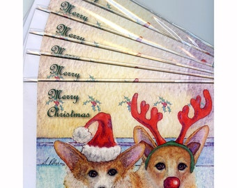 6 x Welsh Corgi dog greeting cards Christmas holiday But, I don't want to be Rudolph... Santa hat reindeer antlers merry seasons greetings