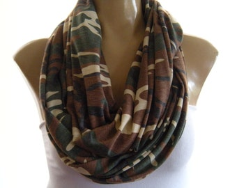 Camouflage Infinity Army greens and browns  Ultra soft Cowl circle loop scarf