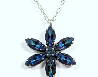 SWAROVSKI Crystal Floral Pendant Necklace, Bermuda Blue and Indicolite
