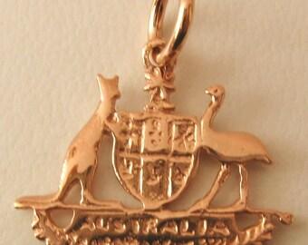 Genuine SOLID 9K 9ct ROSE GOLD Australian Coat of Arms charm/pendant