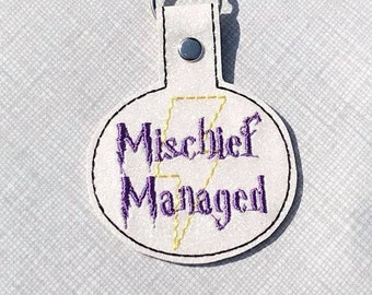 DIGITAL DOWNLOAD Mischief Managed Wizard Tab Key Chain ITHEmbroidery Design