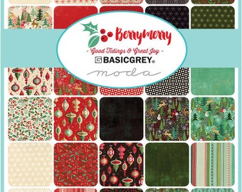 "Moda Berry Merry MINI Charm Pack, (42) 2. 5"" Quilt Fabric Squares by Basic Grey Quilting Sewing NEW"