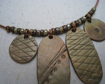 Artifact Inspired Gaming Pieces Rustic Bronze 4 Piece Necklace with Beads - Rustic Necklace - Bronze Necklace