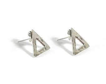 Try-angular Sterling Silver Post Earrings