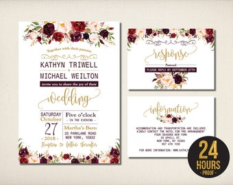 Wedding Invitation, Elegant Burgundy Floral Wedding Invitation, Aubergine Gold Script Swirl, DIY Printable Invitation Template -CW51 Bernice
