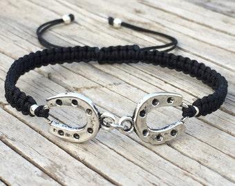 Horseshoe Bracelet, Horseshoe Anklet, Adjustable Cord Macrame Friendship Bracelet, Macrame Jewelry, Gift for Her, Horse Lover Gift, Horses