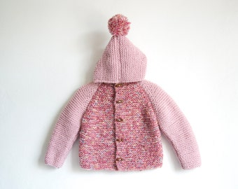 Hand Knitted Baby Girl Wool-Boucle Hoodie Cardigan/Jacket, Chunky, Duffel Coat, Pink and blended shades of Pink with Pom Pom