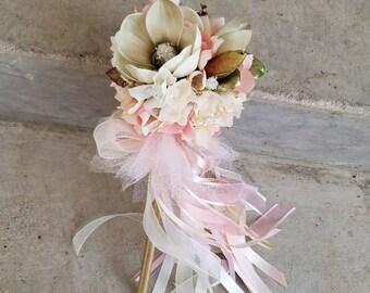 Blush Ivory Magnolia Tutu Flower Girl Pom Wand