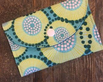 Teal wallet,Cotton wallet, women's wallet, bifold wallet, cotton wallet, handmade wallet