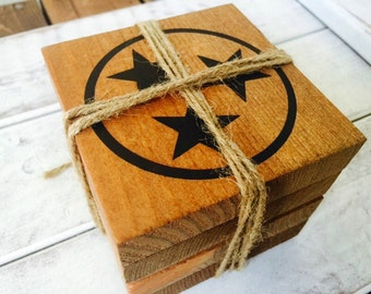 TN - Rustic Coasters - Tennessee Coasters - TriStar Coaster - Reclaimed Wood Coaster Set - Gift fo Her - Gift For Him - Farmhouse Decor
