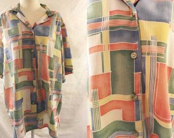Vintage 90s Color Block Blouse | 1990s | Large/XL