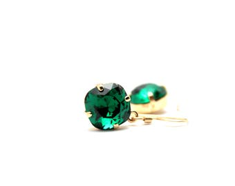 Emerald Green Crystal Dangle Earrings Classic Sparkling Kelly Solitaire Swarovski 12mm or 10mm Drop Sterling Silver 14K Rose Gold Filled