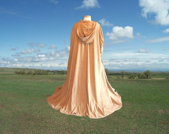 Gold Hooded Cloak - Cape - Medieval Renaissance Wedding - Halloween Costume Gothic