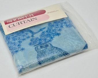 """Vintage Vinyl Shower Curtain Vintage Owls Shower Curtain by Berkeley Hygiene Industries Unused Blue Owls Rosedale Style 70"""" x 72"""""""