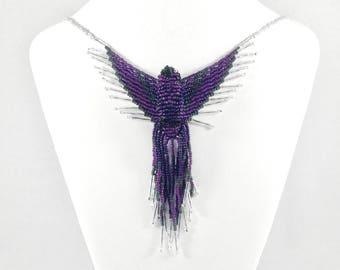 Beaded Phoenix Necklace - Purple - Phoenix Jewelry - 3D Bead Firebird - Fire Bird Necklace - Thunderbird Jewelry - Bead Bird Necklace