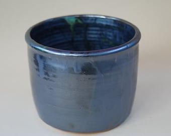 HANDMADE ceramic pot, serving bowl, Wine cooler glazed in a blue, make a nice gift S6