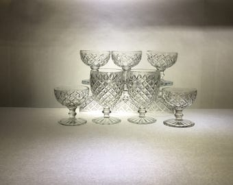 Waffle or Waterford Stemware   by Anchor Hocking   Set of Ten   Head Table Champagne Toast