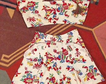 RESERVED Do Not Purchase 1950s Mexican Playsuit and skirt set