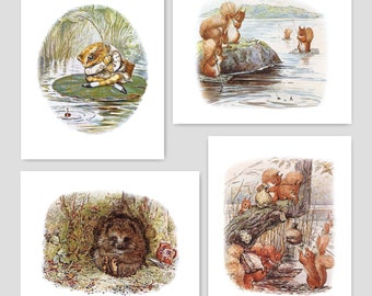 Baby Boy Wall Art (Beatrix Potter Nursery, Woodland Baby Shower Gift, Boys Room Decor, Kids Fishing) Peter Rabbit Prints -- Set of 4 SALE