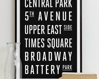 New York Subway Sign Art Subway Print Bus Roll City Poster - Modern Home Decor