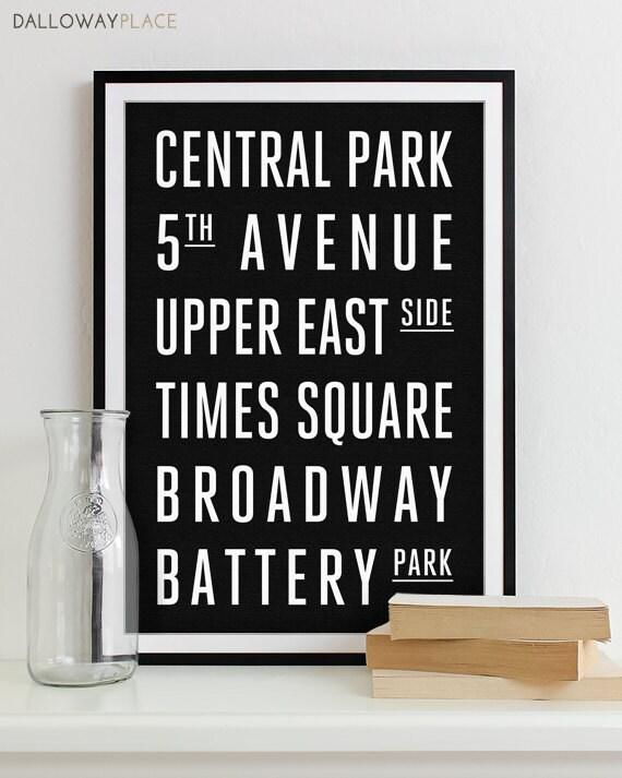 New York Subway Sign Art Subway Print Bus Roll City Poster
