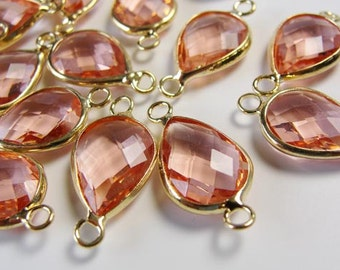 2  Peach Pink Glass gold framed bezel teardrop connector links / brass golden color plated / jewelry supplies/ gold bezel drops / bz 501