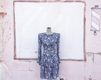 Vintage 1990s Navy Blue Pink Floral Tiered Dress (Size Small/Medium)
