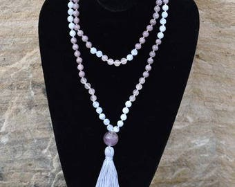 Peaceful-Loving Mala Handmade Blue Lace Agate, Rose Quartz and Lepodolite and Amethyst Guru bead