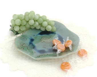 Small Green Crystal Glazed Freeform Pottery Plate or Jewellery Holder with Blue Pooling at Base